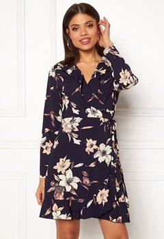 John Zack Wrap Frill Mini Dress Large Navy Floral Bubbleroom.dk