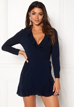 John Zack Wrap Frill Mini Dress Navy Bubbleroom.dk