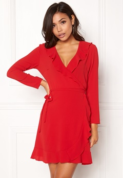 John Zack Wrap Frill Mini Dress Red Bubbleroom.dk