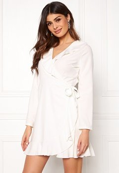 John Zack Wrap Frill mini Dress White Bubbleroom.dk