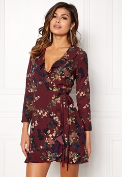 John Zack Wrap Frill Mini Dress Wine Large Floral Bubbleroom.dk