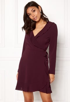 John Zack Wrap Frill Mini Dress Wine Bubbleroom.dk