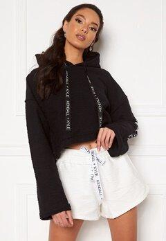 KENDALL + KYLIE K&K Active Hoody Inside Out Sweater Short Black Bubbleroom.dk
