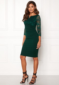 Goddiva Lace Top Midi Dress Emerald Bubbleroom.dk