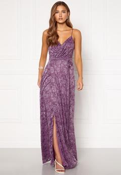 Goddiva Lace Wrap Maxi Dress Dusty Lavender Bubbleroom.dk