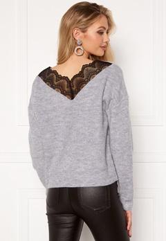 VILA Lala Lace Knit Top Light Grey Melange bubbleroom.dk