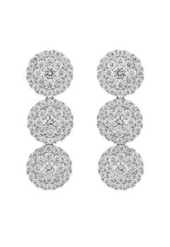 SNÖ of Sweden Lex Long Earrings Silver/Clear Bubbleroom.dk