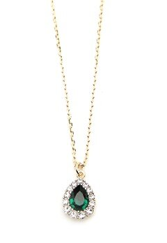 LILY AND ROSE Amelie Necklace Emerald Bubbleroom.dk