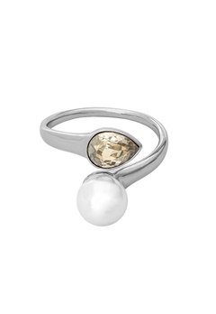 LILY AND ROSE Ella Pearl Ring Ivory Silver Bubbleroom.dk