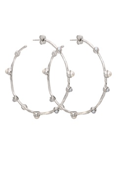 LILY AND ROSE Jagger Hoops Earrings Ivory Silver Bubbleroom.dk