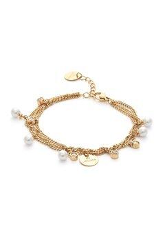 BY JOLIMA Liz Multi Charm Bracelet Milky White Gold Bubbleroom.dk