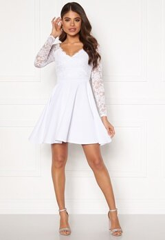 Goddiva Long Sleeve Skater Dress White Bubbleroom.dk