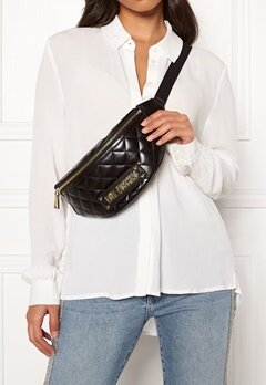 Love Moschino New Shiny Quilted Bag Black Bubbleroom.dk
