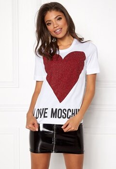 Love Moschino T-shirt Love Heart A00 White Bubbleroom.dk