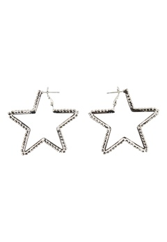 Love Rocks Star Cut Out Earrings Silver Bubbleroom.dk