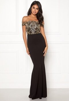 Make Way Francine off shoulder dress Black / Gold Bubbleroom.dk