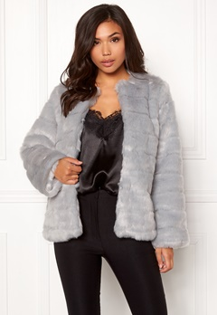 Make Way Freia faux fur jacket Light grey Bubbleroom.dk