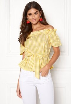 Make Way Kassey off shoulder top Light yellow / White / Checked Bubbleroom.dk