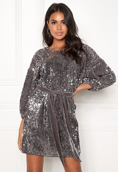 Make Way Lettie sequin dress Grey Bubbleroom.dk