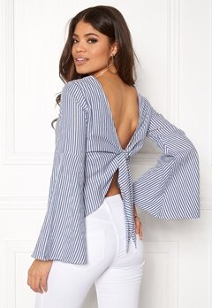Make Way Macie blouse White / Blue / Striped Bubbleroom.dk