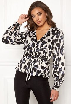 Make Way Miriam blouse White / Black / Leopard Bubbleroom.dk