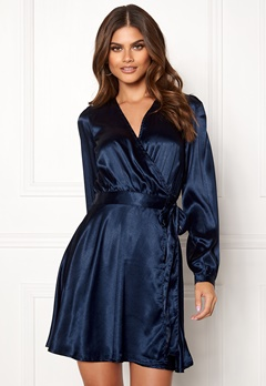 Make Way Ophelia wrapped dress Dark blue Bubbleroom.dk