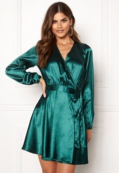 Make Way Ophelia wrapped dress Dark green Bubbleroom.dk