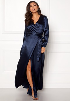 Make Way Ophelia wrapped maxi dress Dark blue Bubbleroom.dk