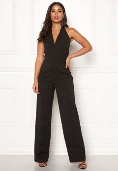Make Way Veralii halterneck jumpsuit Black / White / Striped Bubbleroom.dk
