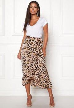 ONLY Malou Wrap Skirt Black/Leo Bubbleroom.dk