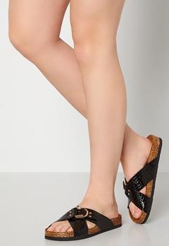ONLY Maxi PU Croc Crossover Sandal Black Bubbleroom.dk