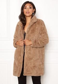 OBJECT Mia Faux Fur Coat Oatmeal Bubbleroom.dk