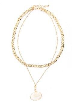Pieces Millie Combi Necklace Gold Colour Bubbleroom.dk
