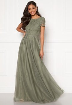 Moments New York Anna Mesh Gown Green Bubbleroom.dk