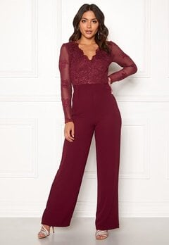 Moments New York Azalea Lace jumpsuit  Wine-red Bubbleroom.dk