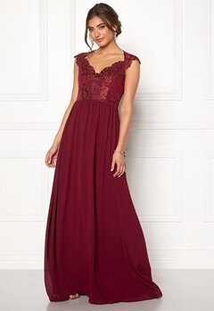 Moments New York Blossom Chiffon Gown Wine-red Bubbleroom.dk