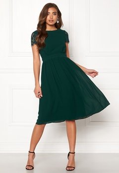 Moments New York Camellia Chiffon Dress Dark green Bubbleroom.dk