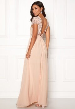 Moments New York Camellia Chiffon Gown Beige-pink Bubbleroom.dk
