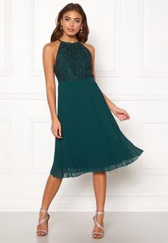 Moments New York Casia Pleated Dress Dark green Bubbleroom.dk