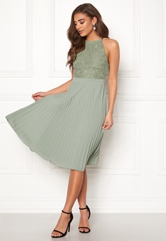 Moments New York Casia Pleated Dress Dark green Bubbleroom.dk