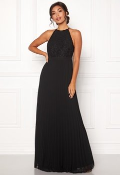 Moments New York Casia Pleated Gown Black Bubbleroom.dk