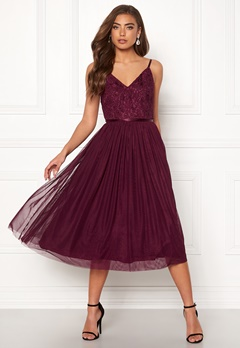 Moments New York Daphne Mesh Dress Wine-red Bubbleroom.dk