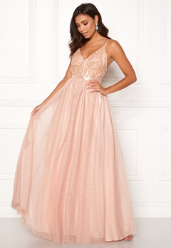 Moments New York Daphne Mesh Gown Light pink Bubbleroom.dk