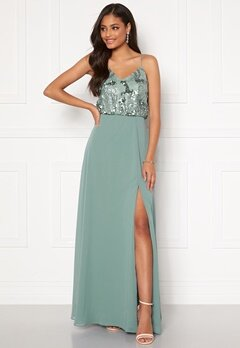 Moments New York Elouise Sequin gown Dusty green Bubbleroom.dk