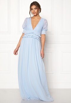 Moments New York Erica Frill Gown Dusty blue Bubbleroom.dk
