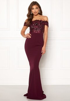 Moments New York Francine Sequin Gown Wine-red Bubbleroom.dk