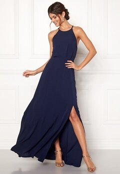 Moments New York Heather Crepe Gown Dark blue Bubbleroom.dk