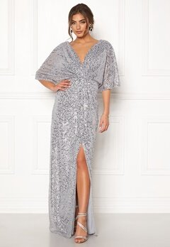 Moments New York Holly Beaded Gown Silver Bubbleroom.dk