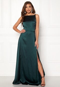 Moments New York Laylani Satin Gown Dark green Bubbleroom.dk