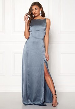 Moments New York Laylani Satin Gown Dusty blue Bubbleroom.dk
